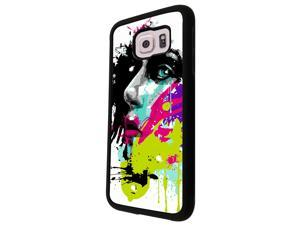 840 - Colorful face painting Design Samsung Galaxy S6 I9600 Hard Plastic Case Back Cover - Black