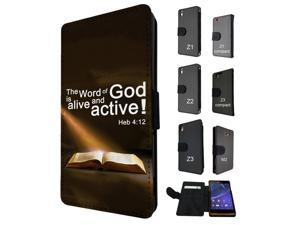 745 - Bible Word of God Alive and Active Design Sony Xperia Z3 Flip Case Credit Card Holder Cover Book Style