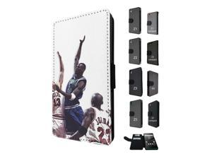 Sony Xperia M5 Aqua / Xperia M5 Flip Case Credit Card Holder Cover Book Style 1607 - Basketball Players In Action Jump Sports