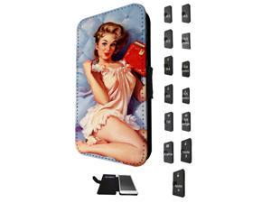 781 - Vintage Pinup Girl Red Diary Design Samsung Galaxy S3 Mini Flip Case Credit Card Holder Cover Book Style
