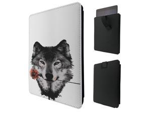 """ipad pro 12.9"""" / Macbook Air 11 / Macbook retina 12 Quality Pouch portefeuille Poche Coque  Case - Tab sortieC0459 - Cool Trendy Wolf Colourful Animals Wildlife Woods Whimsical Rose"""