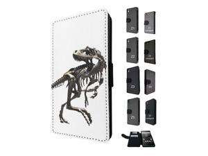 Sony Xperia M5 Aqua / Xperia M5 Flip Case Credit Card Holder Cover Book Style 1764 - Scary T-Rex Tyrannosaurus Bones Fossil