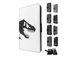 Sony Xperia M4 Aqua / Xperia M4 Flip Case Credit Card Holder Cover Book Style 1765 - Scary T-Rex Tyrannosaurus Shadow Showing His Sharp Teeth Prehistoric