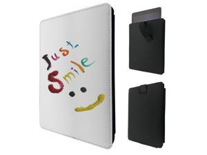 """ipad pro 12.9"""" / Macbook Air 11 / Macbook retina 12 Quality Pouch portefeuille Poche Coque  Case - Tab sortieC0327 - Cool Quote Just Smile Colourful Smiley Face"""