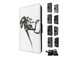 Sony Xperia M4 Aqua / Xperia M4 Flip Case Credit Card Holder Cover Book Style 1602 - Amazing Skeleton Of A T-Rex Tyrannosaurus Prehistoric Beast