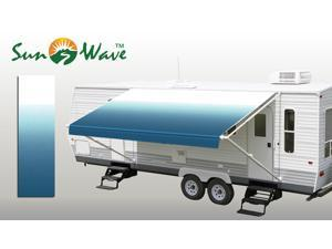 """RV Patio Awning Replacement Fabric 16' (Approx Width 15'2"""") Ocean Blue Fade from SunWave 1 pc"""