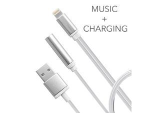 Uiiparts 2 in 1 Lightning Adapter for iPhone 7, Headphone and USB Charger Adapter with USB Charging and Earphone Port (No Music Control) for iPhone 7 7 Plus 6S (Silver)