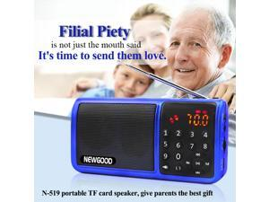 NEWGOOD Portable Digital FM Radio Media Speaker TF Card / USB Disk MP3 Music Player Support with LED Screen Display and Clock Function Hifi Digital Audio Player With LED Flashlight (blue)