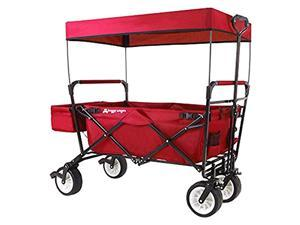 High-End New Generation Outdoor Utility Collapsible Folding Wagon with Canopy & Safety Seat Belt, Auto Locks, Spring Bounce, Brake, Stand, Eva Wide Tire, Red