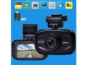 SMART Car Recorder with GPS, SANSCO HD Color Black Box WDR Dashboard Camcorder(150° Wide Angle, Automatic Ignition/Motion/Crash Detection, G-sensor Recording, Smart Speed/Deviation Warning)