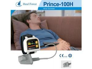 Heal Force Prince 100H OLED Finger Pulse Oximeter Wrist Watch SpO2 PR PI Monitor Wrist Fingertip Oximeter Pulse Ox Perfusion Index Analysis Record Alarm Software Wearable Wrist Pulse Oximeter USB