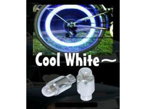 WHITE COLOR LED TIRE LIGHT WHEEL NEON TYRE STEM VALVE CAPS CAR BIKE TIRE BICYCLE MOTORCYCLE
