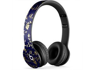 Goald Leaf Flowers over Royal Blue Backdrop Skin for Apple Beats By Dre Solo-HD Headphones