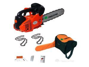 "TIMBERPRO 26cc Top Handle 10"" Topping Gas Powered Chainsaw. 2 Chains, Carry Bag and Accesssories."