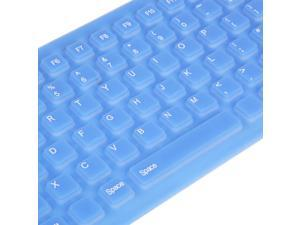 USB 2.0 Silicone Roll Up Foldable Computer Keyboard for PC Blue