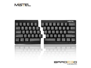 Mistel Barocco Ergonomic Split PBT Mechanical Keyboard with Cherry MX Black Switches, Black Case, Programmable Macro