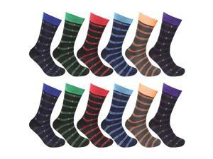 12 Pairs Striped Men Socks Size 10-13 Assorted Colors