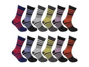 12 Pairs Assorted Colors Striped Men Dress Socks Size 10-13