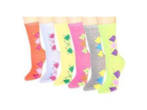 12 Pairs Women's Crew Socks Assorted Colors Size 9-11 Argyle