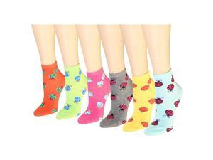 12 Pairs Women's Socks Assorted Colors Size 9-11 Ladybug