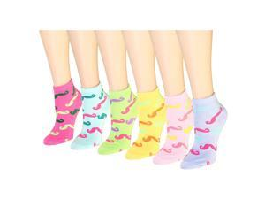 12 Pairs Women's Socks Assorted Colors Size 9-11 Mustache