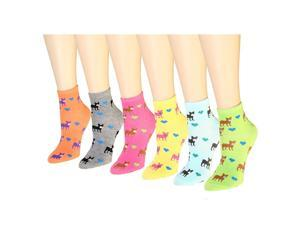 12 Pairs Women's Socks Assorted Colors Size 9-11 Dog