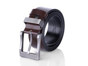 Men's Belt Reversible Business Casual Belt for Men with Pin Buckle (Black & Brown)