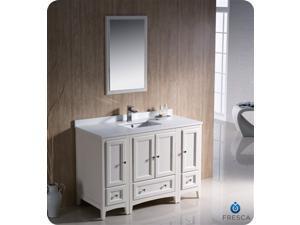 "Fresca Oxford 48"" AnC248:C290tique White Traditional Bathroom VanityDimensions of Vanity:  48""W x 20.38""D x 32.63""H"