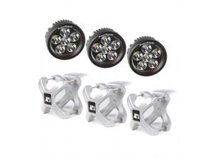 Omix Ada 15210.15 Large X-Clamp & Round LED Light Kit, Silver, 3 Pieces