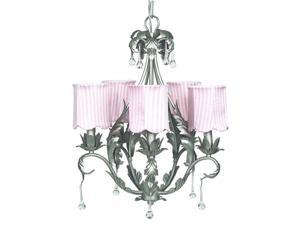 Jubilee Collection 7799-2514 Chand - 5-Arm - Caesar - Pewter with  Ch Shade - Scallop Drum - Pink Stripe