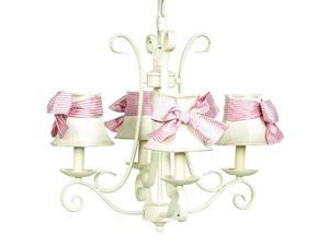 Jubilee Collection 74503-2409-510 Chand - 4-arm - Harp - Ivory with  Ch Shade - Plain - Ivory with  Pink check sash