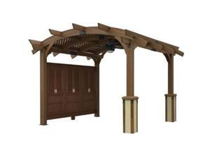 Outdoor Greatroom Company Sonoma 16-M Sonoma Arched Wood Pergola in Douglas Fir with Mocha Broun Stain 16 ft x 16 ft