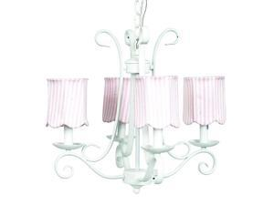 Jubilee Collection 74502-2514 Chand - 4-arm - Harp - White with  Ch Shade - Scallop Drum - Pink Stripe