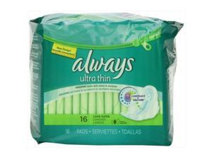 Always 16 Count Ultra Long Super With Wings Unscented Thin Pads - Pack Of 12