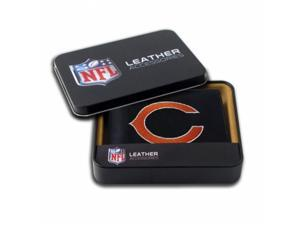 Rico Sporting Goods 138402 Chicago Bears Men's Black Leather Bi-fold Wallet