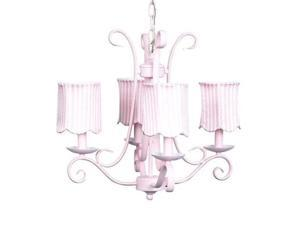 Jubilee Collection 74506-2514 Chand - 4-arm - Harp - Pink w. Ch Shade - Scallop Drum - Pink Stripe
