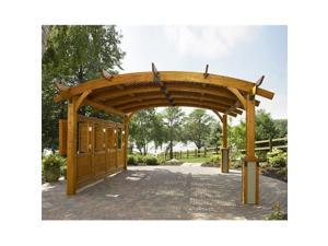 Outdoor Greatroom Company Sonoma 16-R Sonoma Arched Wood Pergola - made from Douglas Fir in Redwood Stain - 16 ft x 16 ft