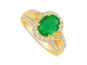 Fine Jewelry Vault UBUNR83760Y149X7CZE Emerald & CZ Halo Engagement Ring in 14K Yellow Gold, 14 Stones