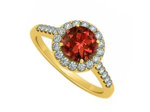 Fine Jewelry Vault UBNR50345Y14CZGR June Birthstone Garnet & CZ April Birthstone Halo Engagement Ring, 24 Stones