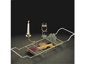 Taymor 02-DCW8590 Bathtub Caddy with Candle Holder & Wine Glass Holder, Chrome