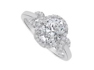 Fine Jewelry Vault UBNR83926W149X7CZ Cool CZ Oval Design Ring in 14K White Gold