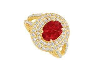 Fine Jewelry Vault UBUNR83750Y149X7CZR Cool Ruby & CZ Split Shank Ring in 14K Yellow Gold, 98 Stones