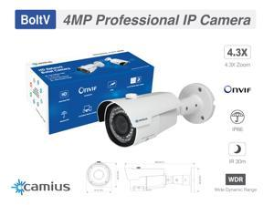 IP camera 4MP,  Wide Angle Outdoor Security Camera PoE. works with an NVR Onvif, FTP, Motion Detect, Alerts, IP66, IR 150ft, 2.8mm VF Lens 4x Zoom, PC Mac Mobile Access, NVR Not Included Camius BoltV