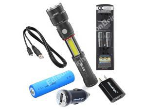 Bundled Offer: Nebo 6434 Slyde King 330 Lumen USB rechargeable LED flashlight/Worklight, rechargeable Li-ion battery with EdisonBright USB Car/home chargers.
