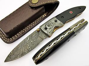 Warrior Folding Knife Damascus Steel Blade and Bolster Horn Handle