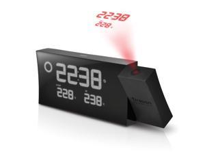 PRYSMA Atomic Projection Clock with Weather Forecast - Black Edition