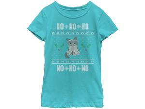 Grumpy Cat Ho Ho No Ugly Christmas Sweater Girls Graphic T Shirt