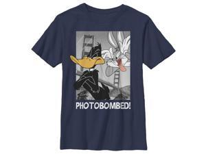 Looney Tunes Bugs Bunny and Daffy Duck Photobomb - Boys Graphic T Shirt