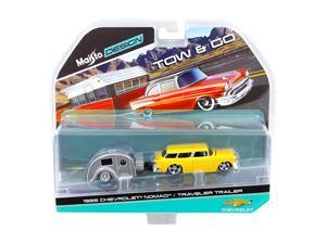 1955 Chevrolet Nomad with Traveler Trailer Yellow Tow & Go 1/64 Diecast Model by Maisto