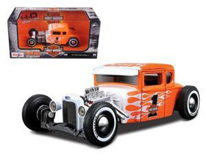 1929 Ford Model A Harley Davidson Orange With Flames #1 1/24 Diecast Model Car by Maisto